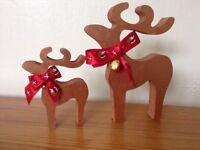 christmas star gazing reindeer decorations mother and baby metallic brown gold bells red ribbon