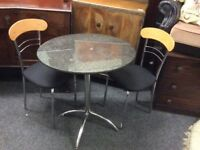 Round marble top table & 2 chairs