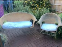 Conservatory 2 seater settee and chair. Originally from The Pier.