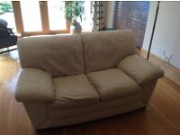3 & 2 seater cream leather sofa