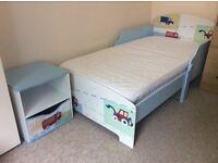 CHILDRENS BOYS TRUCK TODDLER BED , MATTRESS, BEDSIDE TABLE PICKUP WEST LONDON