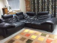LARGE BLACK LEATHER CORNER SOFA ************** NOW SOLD*****************