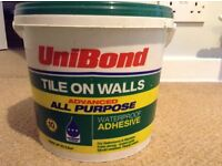 Unibond tile on walls all purpose adhesive, waterproof for bathrooms/kitchens, unopened