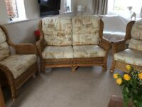 Conservatory sofa plus two matching chairs plus comfy cushions bargain price for quick sale