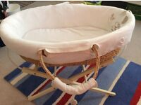 Moses basket and stand, hardly used excellent condition