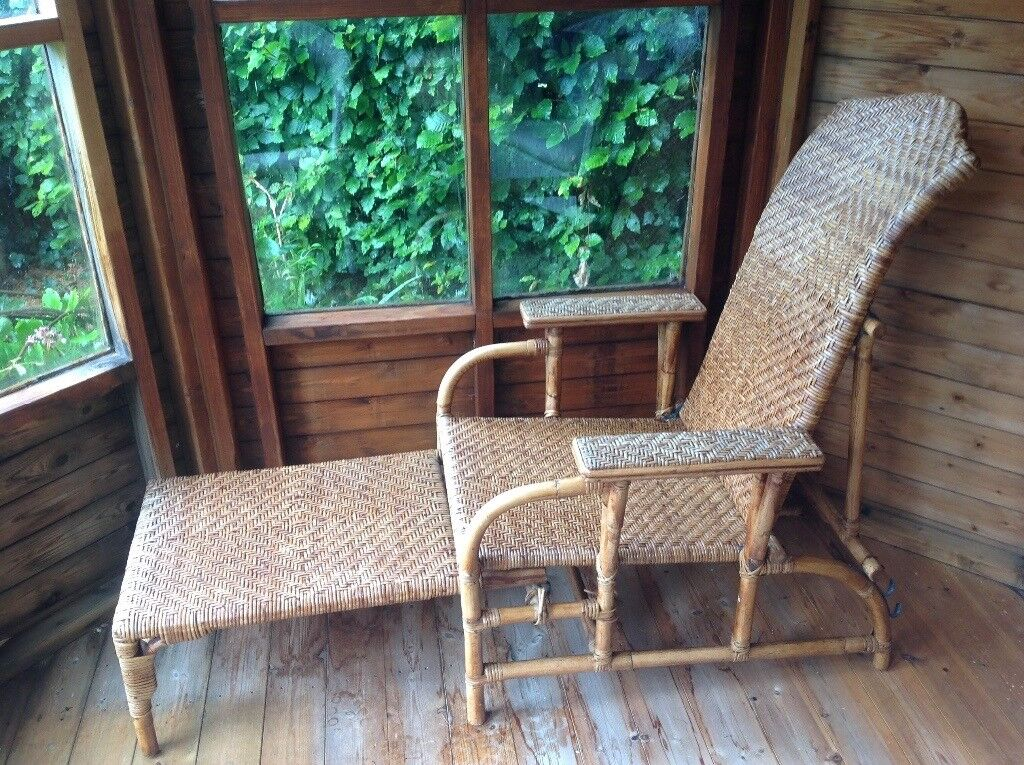 Rattan Reclining 'Steamer' chair with pull out footrest