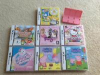 Pink Nintendo DSi with 7 games