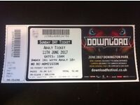 Download Festival | 1 x Ticket for Sunday 11th June 2017 | AEROSMITH | Ticket in hand