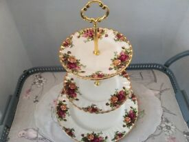 Royal Albert Bone China Large 3 Tier Cake Stand. Old Country Roses.