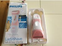 Ladyshave made by Philips, battery powered, nearly new, still in box and in full working order