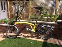 """BROMPTON H6 Folding Bike : British made icon, with the """"H"""" styled handle bars and 6 gears."""