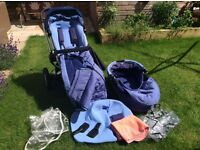 Quinny Buzz 3 pushchair and pram with accessories in blue