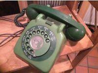 Green 70's telephone (original, not repro