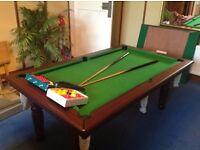 Heavy duty, lead bed snooker / pool table. Converts into a 6 seater dining table.