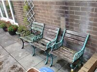 Three wrought iron garden chairs for refurbishment plus hard wood for project