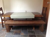Large solid wooden dining table for sale.