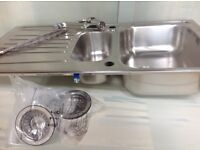 New 1 and half bowl sink and tap