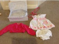 girls 3-6 month old brand new gift boxed dress with knickers and matching cardigan jojomamanbebe