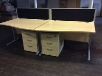 Four Maple Rectangle Desks, Dividers & Pedestals