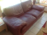 Comfortable red leather sofa