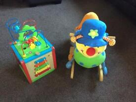 Child's rocker and activity box.