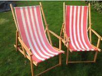 2 garden deckchairs with armrests