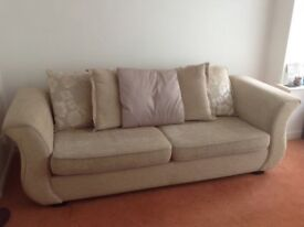 DFS 4 seater pillow back sofa and footstool