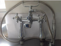 Victorian/Edwardian style chrome covered brass bath/ shower tap set