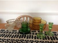 Vintage glassware - mixed job lot including jelly moulds