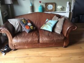Beautiful antique leather 2 seater sofa rep £1500