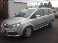 VAUXHALL ZAFIRA 1.6 55 PLATE ONLY 87000 miles LEAVES WITH 1 FULL YEAR MOT 7 SEATER FAMILY CAR