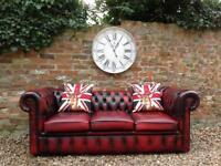 3 seater oxblood chesterfield sofa. Can deliver...