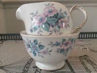 Colclough Bone China Milk Jug and Sugar Bowl. Pink / Blue Floral.