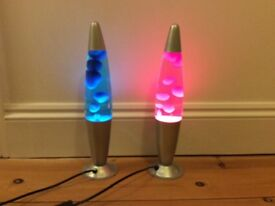 Matching set of 2 kids lava lamps, one pink one blue
