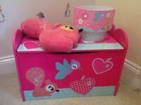 Children's matching bedroom set including toy chest, lampshade, cushion and single duvet set.
