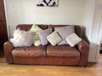 Leather Sofa, Chairs & Pouffe