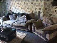 Grey/black 3 piece suite including rotating love seat