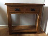 Solid oak console table. Originally from Prestige Furniture. H78cm D35cm W85cm.