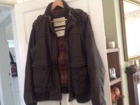Men's Large Brown Leather Jacket by Ambercrombie and Fitch