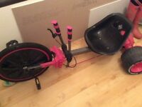 """Huffy """"green machine""""- go cart- tricycle - good condition - pink colour"""