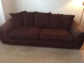 Brown soft skin leather and fabric 4 seater sofa in very good condition