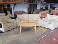 Beige chenille sofa set