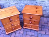 Matching pair of solid pine bedside drawers