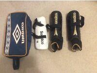 Football shin pads and bag