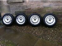 Genuine BMW Mini wheels with Pirelli winter tyre and trims. 15 inch 4 hole