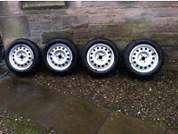Genuine BMW Mini wheels with Pirelli Snowcontrol winter tyre and trims. 15 inch 4 hole. 5mm+ tread.