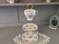Colclough Bone China 3 Tier Trinket/Biscuit Stand. Pink and Blue