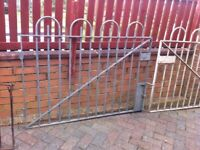 Pair of wrought iron galvanised garden gates
