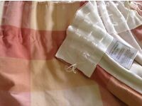 Pair Full length terracotta colour check lined Laura Ashley curtains 89 inch long