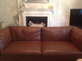 3 seater dark tan leather sofa
